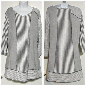 Gray mismatched patchwork stripe lagenlook tunic L